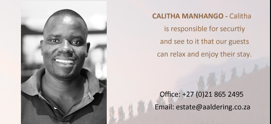 CALITHA MANHANGO - One of our security gards who whatches over the property .
