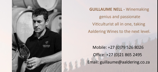 Guillaume Nell -Winemaking genius and passionate  Viticulturist all in one, taking  Aaldering Wines to the next level.