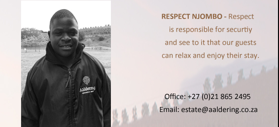 RESPECT NJOMBO – One of our security gards who whatches over the property .